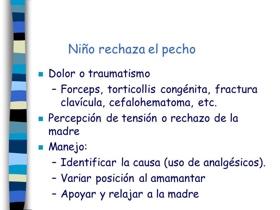 n Dolor o traumatismo –Forceps, torticollis congénita, fractura clavícula, cefalohematoma, etc. n Percepción de tensión o rechazo de la madre n Manejo
