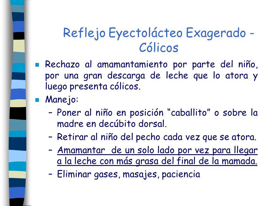 Reflejo Eyectolácteo Exagerado - Cólicos n Rechazo al amamantamiento por parte del niño, por una gran descarga de leche que lo atora y luego presenta
