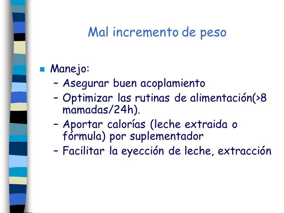 Mal incremento de peso n Manejo: –Asegurar buen acoplamiento –Optimizar las rutinas de alimentación(>8 mamadas/24h). –Aportar calorías (leche extraida