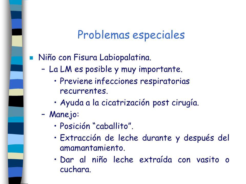 Problemas especiales n Niño con Fisura Labiopalatina. –La LM es posible y muy importante. Previene infecciones respiratorias recurrentes. Ayuda a la c