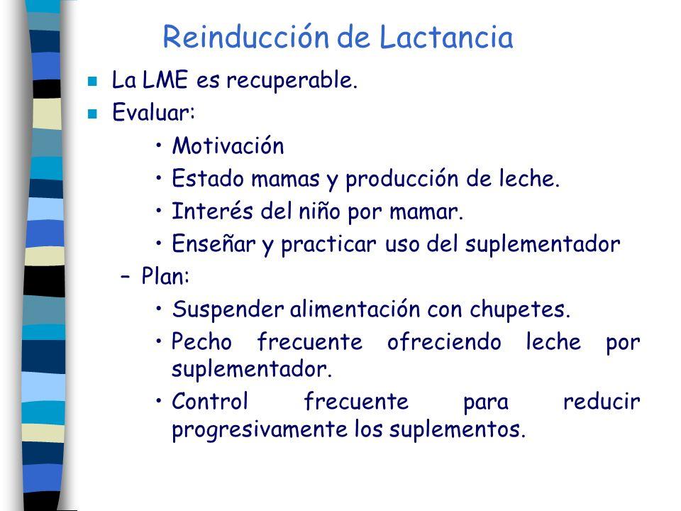 Reinducción de Lactancia n La LME es recuperable. n Evaluar: Motivación Estado mamas y producción de leche. Interés del niño por mamar. Enseñar y prac