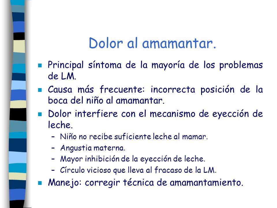 Dolor al amamantar. n Principal síntoma de la mayoría de los problemas de LM. n Causa más frecuente: incorrecta posición de la boca del niño al amaman