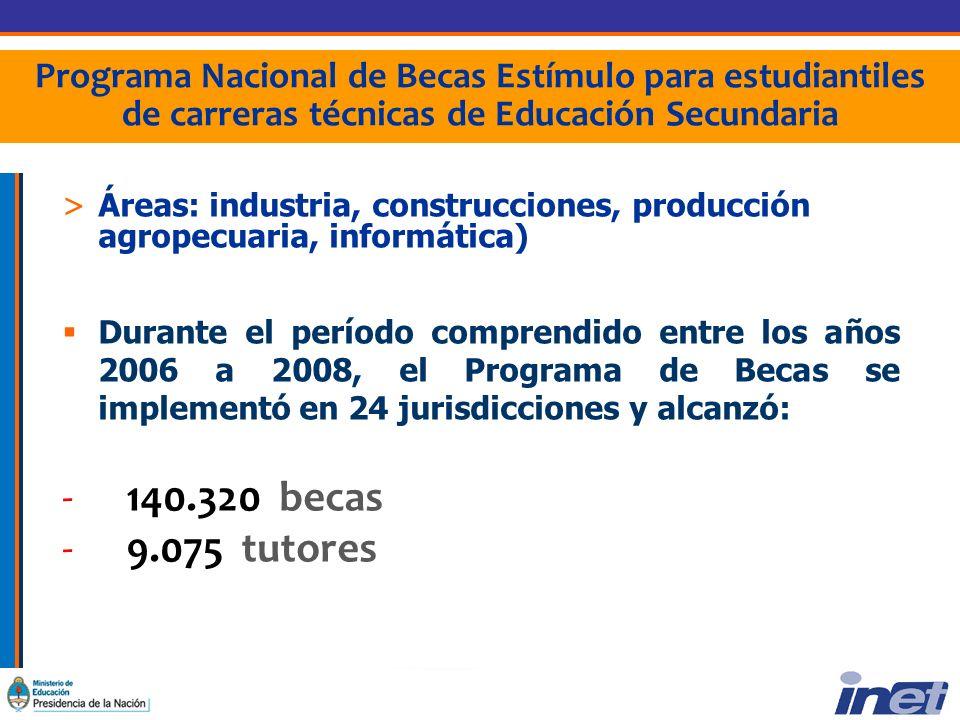 Programa Nacional de Becas Estímulo para estudiantiles de carreras técnicas de Educación Secundaria >Áreas: industria, construcciones, producción agropecuaria, informática) Durante el período comprendido entre los años 2006 a 2008, el Programa de Becas se implementó en 24 jurisdicciones y alcanzó: - 140.320 becas - 9.075 tutores