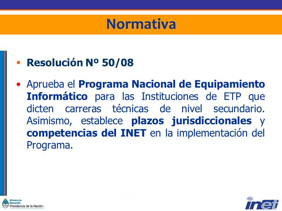 Normativa Resolución Nº 50/08 Aprueba el Programa Nacional de Equipamiento Informático para las Instituciones de ETP que dicten carreras técnicas de nivel secundario.