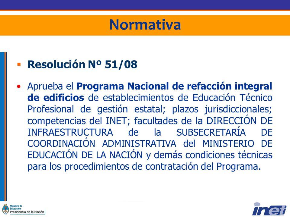 Normativa Resolución Nº 51/08 Aprueba el Programa Nacional de refacción integral de edificios de establecimientos de Educación Técnico Profesional de gestión estatal; plazos jurisdiccionales; competencias del INET; facultades de la DIRECCIÓN DE INFRAESTRUCTURA de la SUBSECRETARÍA DE COORDINACIÓN ADMINISTRATIVA del MINISTERIO DE EDUCACIÓN DE LA NACIÓN y demás condiciones técnicas para los procedimientos de contratación del Programa.