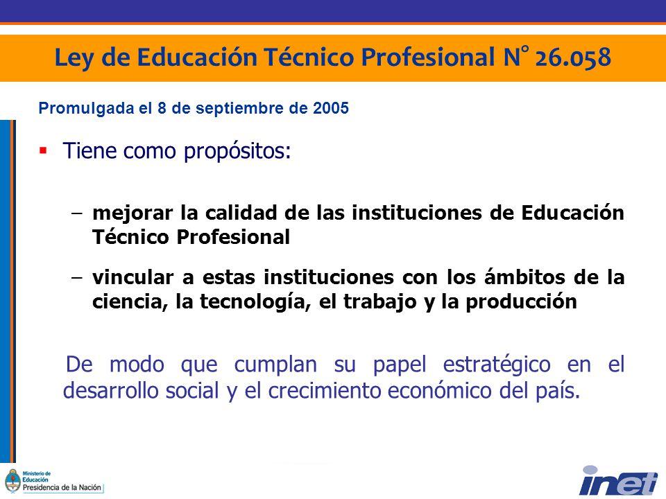 Ley de Educación Técnico Profesional N° 26.058 1/2 LA LEY DE EDUCACIÓN TÉCNICO PROFESIONAL TIENE COMO PROPIOS LOS SIGUIENTES FINES Y OBJETIVOS: Estructurar una política nacional y federal, integral, jerarquizada y armónica en la consolidación de la Educación Técnico Profesional.