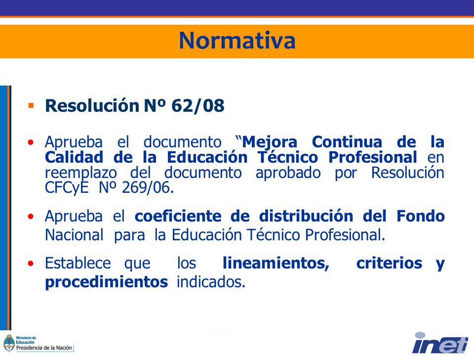 Normativa Resolución Nº 62/08 Aprueba el documento Mejora Continua de la Calidad de la Educación Técnico Profesional en reemplazo del documento aprobado por Resolución CFCyE Nº 269/06.