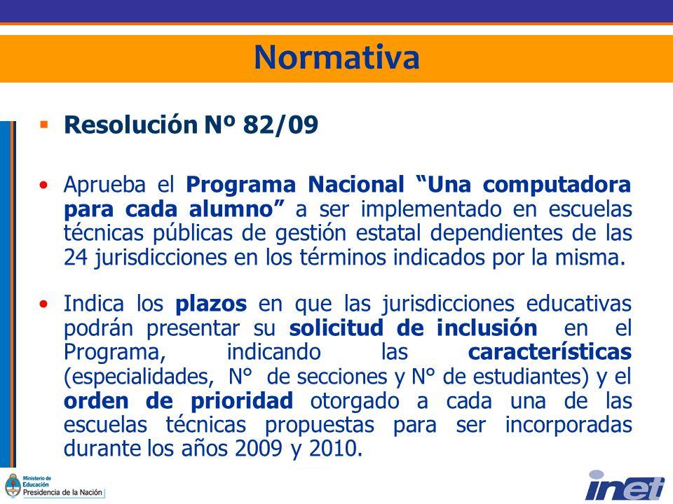 Normativa Resolución Nº 82/09 Aprueba el Programa Nacional Una computadora para cada alumno a ser implementado en escuelas técnicas públicas de gestión estatal dependientes de las 24 jurisdicciones en los términos indicados por la misma.