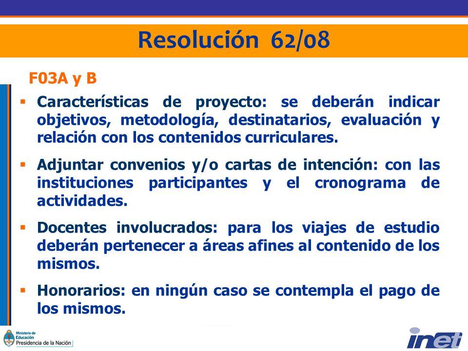 Resolución 62/08 F03A y B Características de proyecto: se deberán indicar objetivos, metodología, destinatarios, evaluación y relación con los contenidos curriculares.