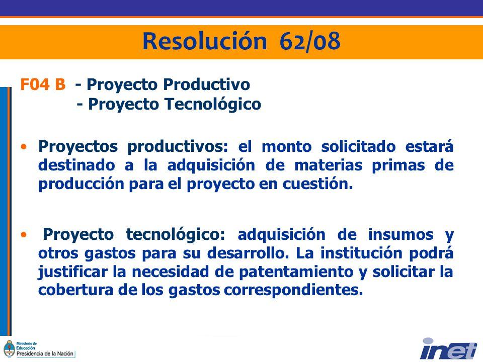 Resolución 62/08 F04 B - Proyecto Productivo - Proyecto Tecnológico Proyectos productivos: el monto solicitado estará destinado a la adquisición de materias primas de producción para el proyecto en cuestión.