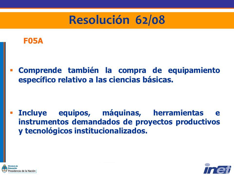 Resolución 62/08 F05A Comprende también la compra de equipamiento específico relativo a las ciencias básicas.