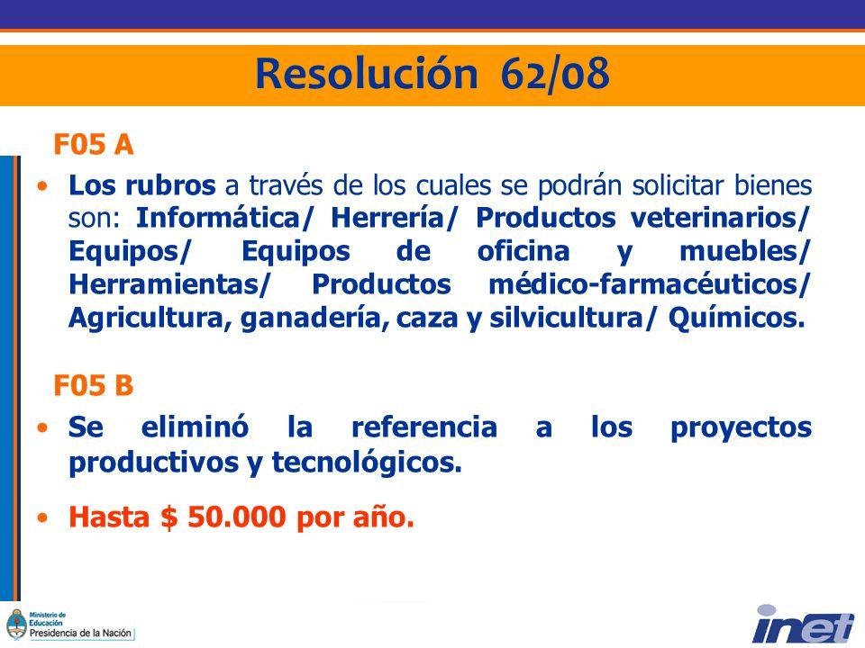 Resolución 62/08 F05 A Los rubros a través de los cuales se podrán solicitar bienes son: Informática/ Herrería/ Productos veterinarios/ Equipos/ Equipos de oficina y muebles/ Herramientas/ Productos médico-farmacéuticos/ Agricultura, ganadería, caza y silvicultura/ Químicos.