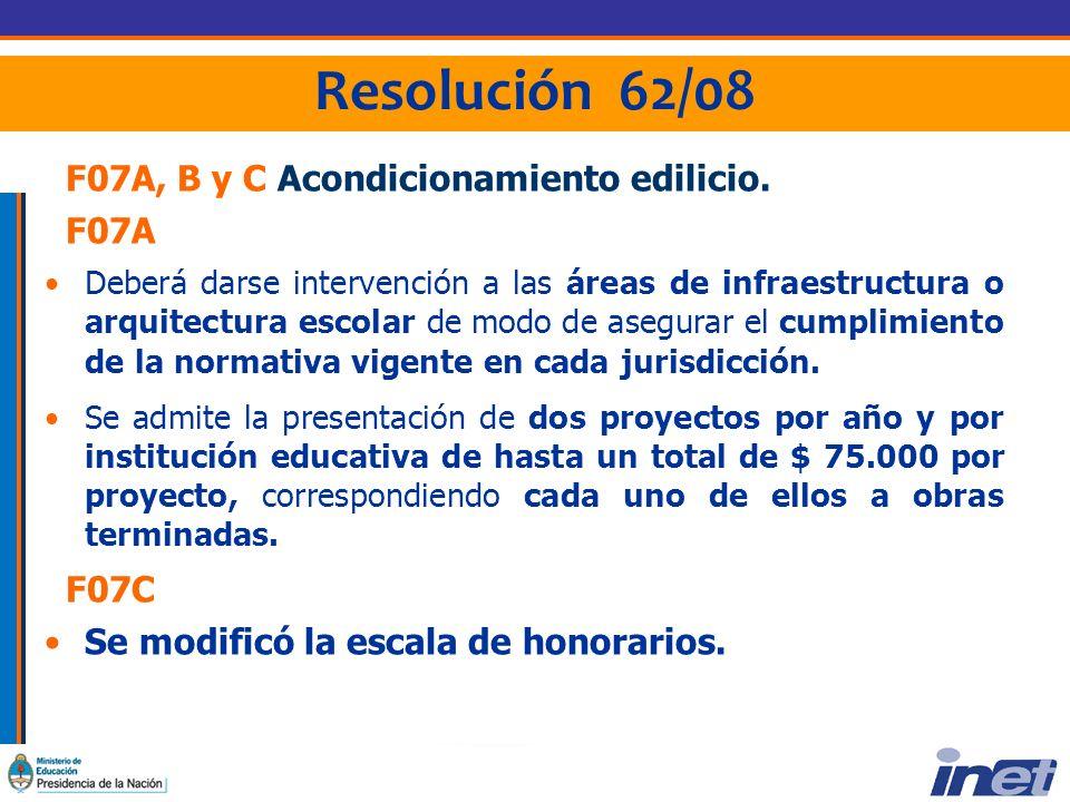 Resolución 62/08 F07A, B y C Acondicionamiento edilicio.