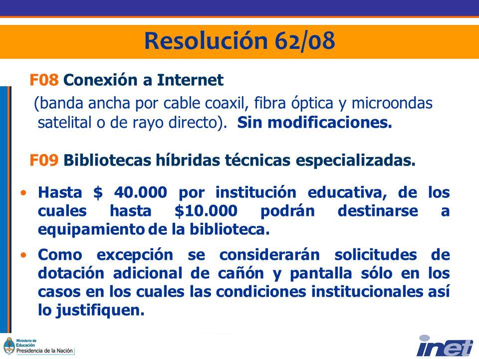 Resolución 62/08 F08 Conexión a Internet (banda ancha por cable coaxil, fibra óptica y microondas satelital o de rayo directo). Sin modificaciones. F0