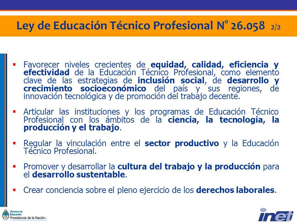Ley de Educación Técnico Profesional N° 26.058 2/2 Favorecer niveles crecientes de equidad, calidad, eficiencia y efectividad de la Educación Técnico Profesional, como elemento clave de las estrategias de inclusión social, de desarrollo y crecimiento socioeconómico del país y sus regiones, de innovación tecnológica y de promoción del trabajo decente.