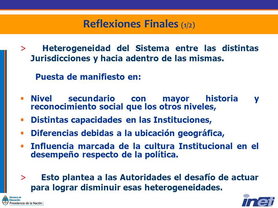 Reflexiones Finales (1/2) > Heterogeneidad del Sistema entre las distintas Jurisdicciones y hacia adentro de las mismas.
