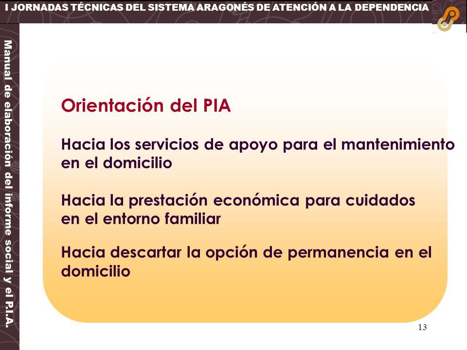 13 I JORNADAS TÉCNICAS DEL SISTEMA ARAGONÉS DE ATENCIÓN A LA DEPENDENCIA Orientación del PIA Hacia los servicios de apoyo para el mantenimiento en el