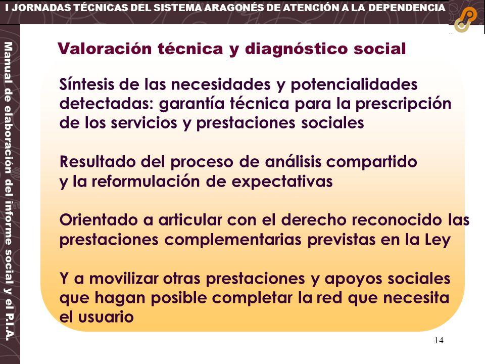 14 I JORNADAS TÉCNICAS DEL SISTEMA ARAGONÉS DE ATENCIÓN A LA DEPENDENCIA Síntesis de las necesidades y potencialidades detectadas: garantía técnica pa