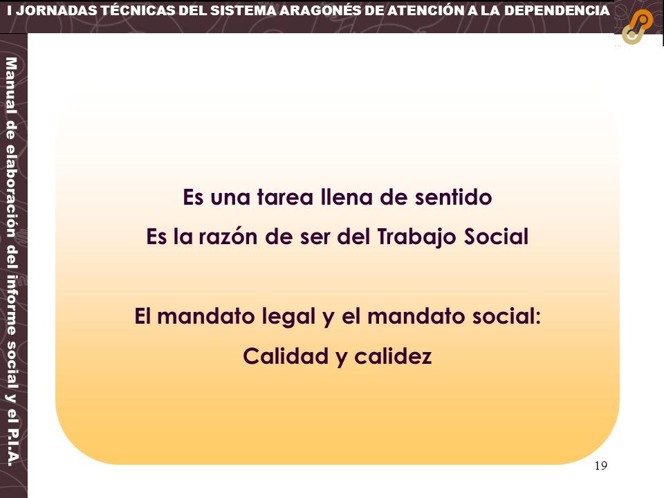 19 I JORNADAS TÉCNICAS DEL SISTEMA ARAGONÉS DE ATENCIÓN A LA DEPENDENCIA Manual de elaboración del informe social y el P.I.A. Es una tarea llena de se