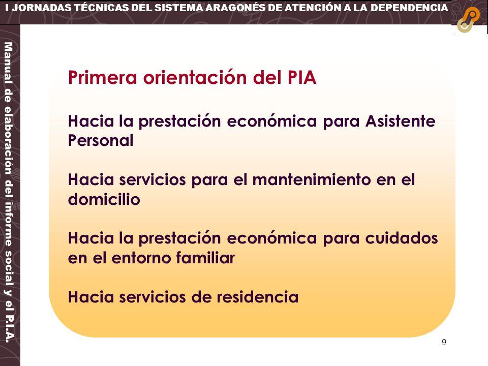9 I JORNADAS TÉCNICAS DEL SISTEMA ARAGONÉS DE ATENCIÓN A LA DEPENDENCIA Primera orientación del PIA Hacia la prestación económica para Asistente Perso
