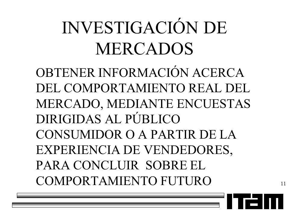 11 OBTENER INFORMACIÓN ACERCA DEL COMPORTAMIENTO REAL DEL MERCADO, MEDIANTE ENCUESTAS DIRIGIDAS AL PÚBLICO CONSUMIDOR O A PARTIR DE LA EXPERIENCIA DE
