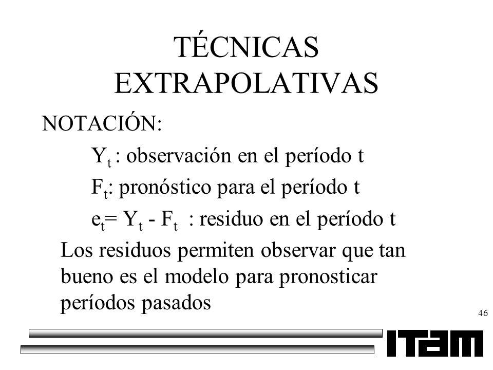 46 TÉCNICAS EXTRAPOLATIVAS NOTACIÓN: Y t : observación en el período t F t : pronóstico para el período t e t = Y t - F t : residuo en el período t Lo