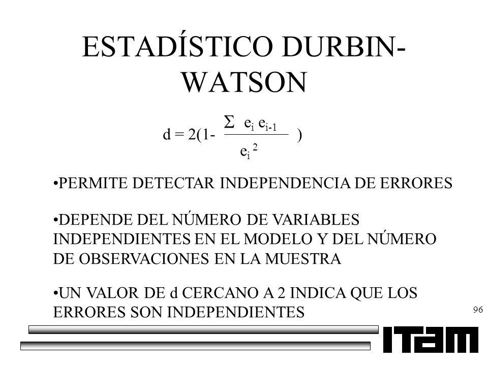 96 ESTADÍSTICO DURBIN- WATSON d = 2(1- e i e i-1 e i 2 ) PERMITE DETECTAR INDEPENDENCIA DE ERRORES DEPENDE DEL NÚMERO DE VARIABLES INDEPENDIENTES EN E