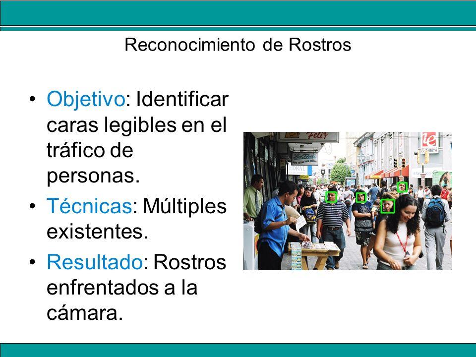 Reconocimiento de Rostros Objetivo: Identificar caras legibles en el tráfico de personas. Técnicas: Múltiples existentes. Resultado: Rostros enfrentad