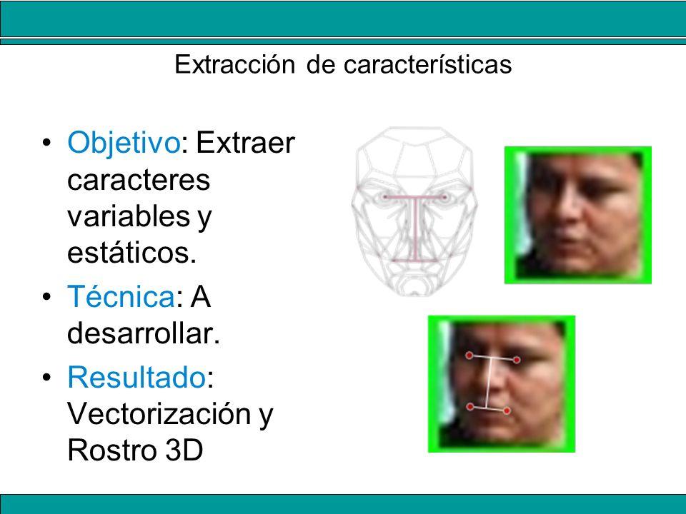 Extracción de características Objetivo: Extraer caracteres variables y estáticos. Técnica: A desarrollar. Resultado: Vectorización y Rostro 3D