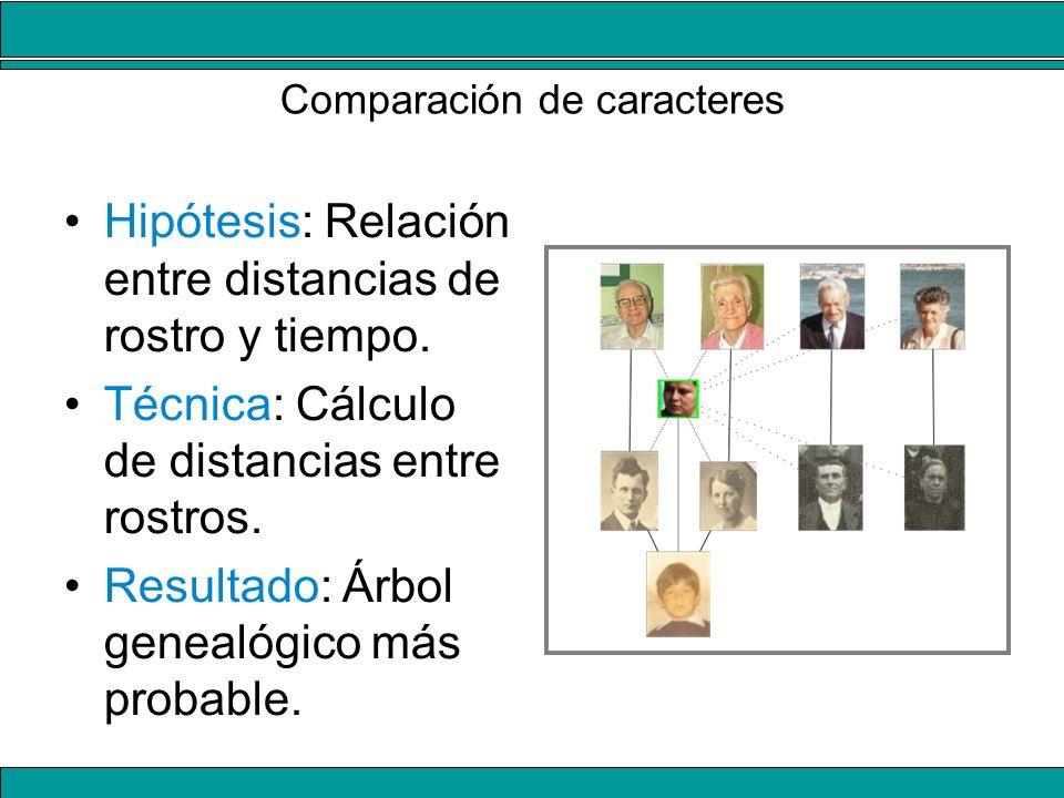 Comparación de caracteres Hipótesis: Relación entre distancias de rostro y tiempo. Técnica: Cálculo de distancias entre rostros. Resultado: Árbol gene