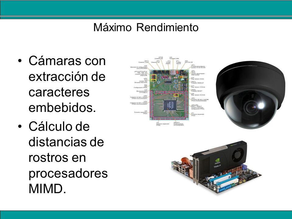 Máximo Rendimiento Cámaras con extracción de caracteres embebidos. Cálculo de distancias de rostros en procesadores MIMD.