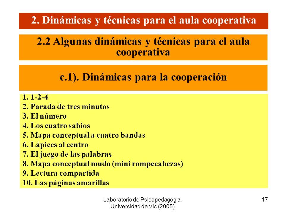 Laboratorio de Psicopedagogia. Universidad de Vic (2005) 16 2. Dinámicas y técnicas para el aula cooperativa 2.2 Algunas dinámicas y técnicas para el