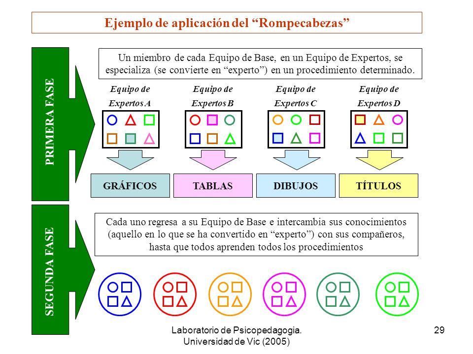 Laboratorio de Psicopedagogia. Universidad de Vic (2005) 28 El Rompecabezas 1.Se divide el grupo clase en un determinado número de Equipos de Base. 2.