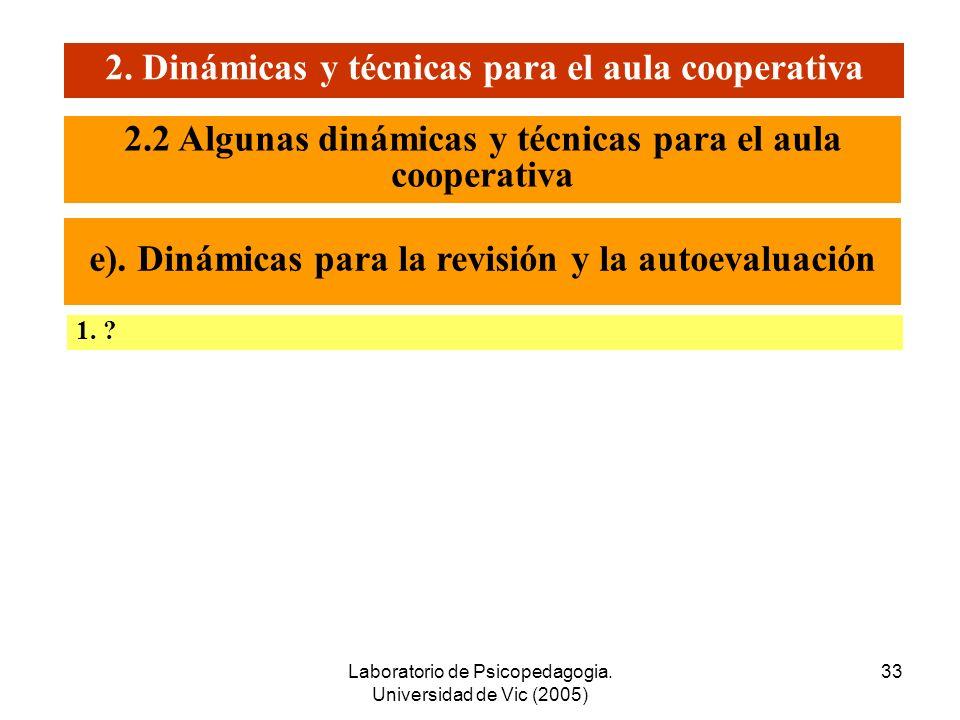 Laboratorio de Psicopedagogia. Universidad de Vic (2005) 32 2. Dinámicas y técnicas para el aula cooperativa 1. El Grupo Nominal 2. Las Dos Columnas 2