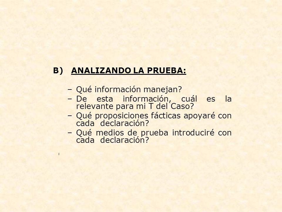 B) ANALIZANDO LA PRUEBA: –Qué información manejan? –De esta información, cuál es la relevante para mi T del Caso? –Qué proposiciones fácticas apoyaré