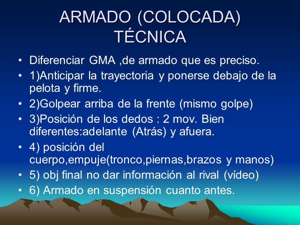 ARMADO (COLOCADA) TÉCNICA Diferenciar GMA,de armado que es preciso. 1)Anticipar la trayectoria y ponerse debajo de la pelota y firme. 2)Golpear arriba