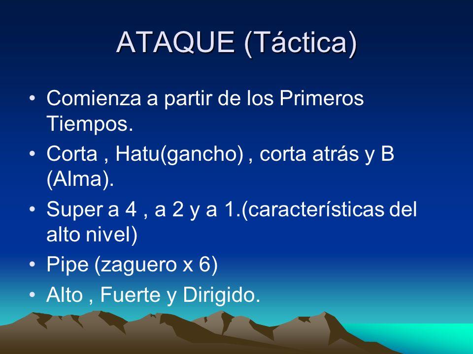 ATAQUE (Táctica) Comienza a partir de los Primeros Tiempos. Corta, Hatu(gancho), corta atrás y B (Alma). Super a 4, a 2 y a 1.(características del alt