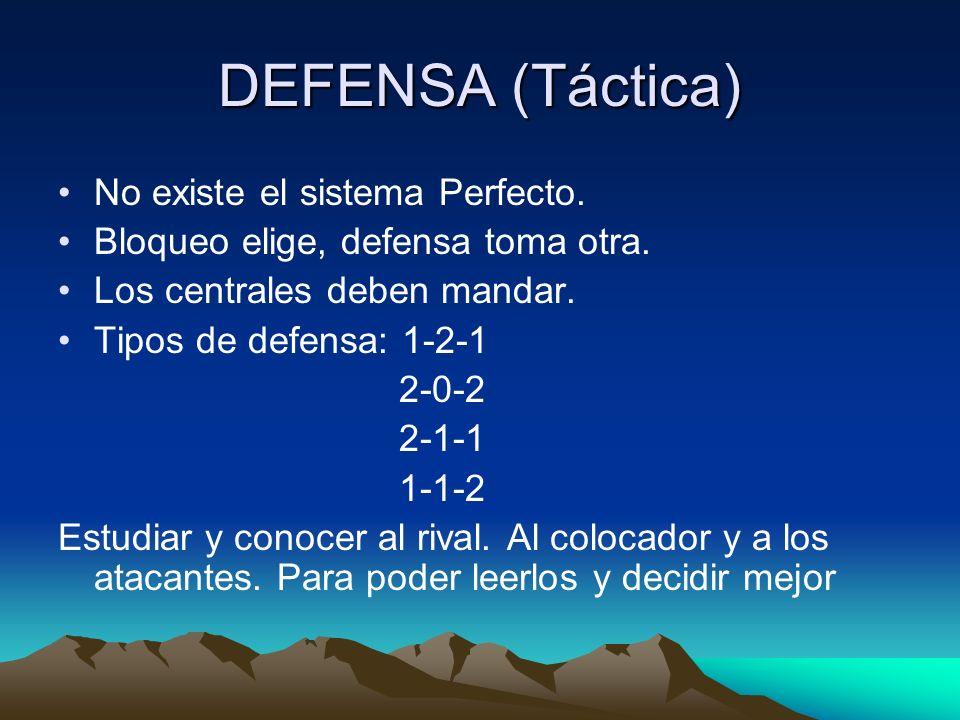 DEFENSA (Táctica) No existe el sistema Perfecto. Bloqueo elige, defensa toma otra. Los centrales deben mandar. Tipos de defensa: 1-2-1 2-0-2 2-1-1 1-1