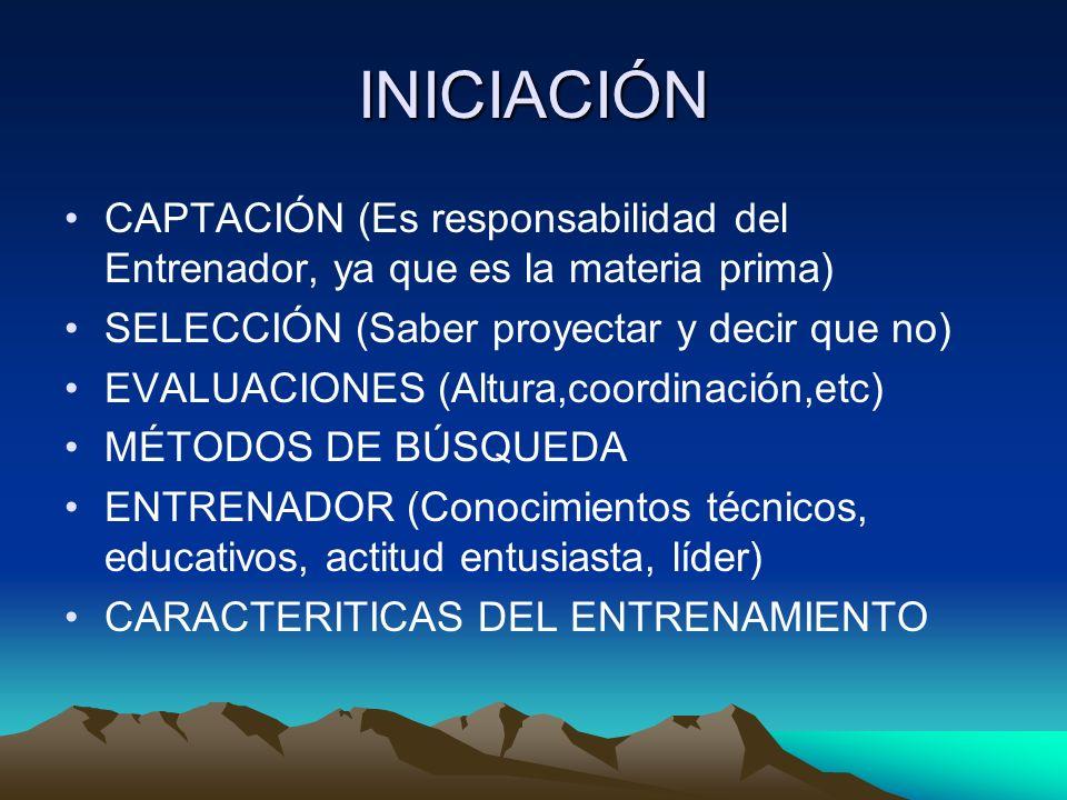 INICIACIÓN CAPTACIÓN (Es responsabilidad del Entrenador, ya que es la materia prima) SELECCIÓN (Saber proyectar y decir que no) EVALUACIONES (Altura,c