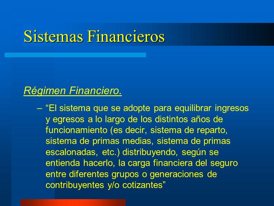 Sistemas Financieros Régimen Financiero. –El sistema que se adopte para equilibrar ingresos y egresos a lo largo de los distintos años de funcionamien