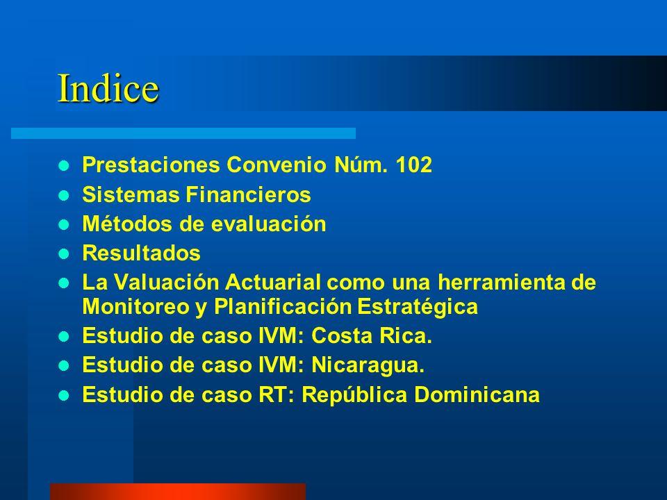 Indice Prestaciones Convenio Núm. 102 Sistemas Financieros Métodos de evaluación Resultados La Valuación Actuarial como una herramienta de Monitoreo y