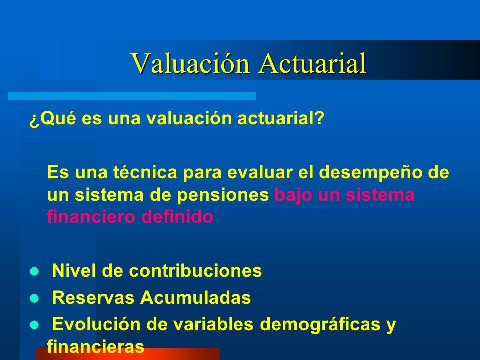 Valuación Actuarial ¿Qué es una valuación actuarial? Es una técnica para evaluar el desempeño de un sistema de pensiones bajo un sistema financiero de