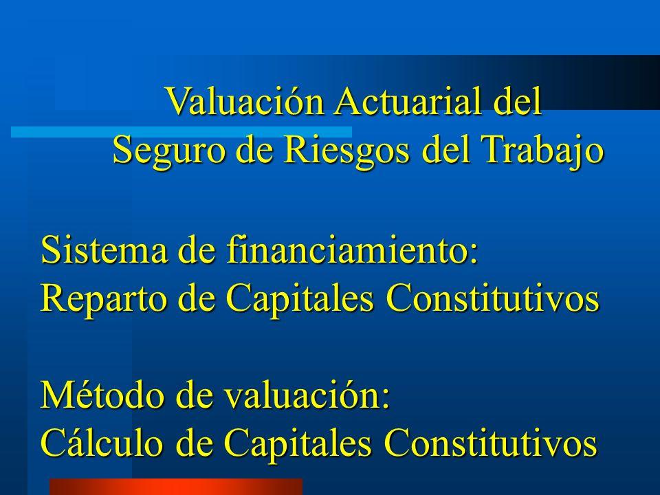 Valuación Actuarial del Seguro de Riesgos del Trabajo Seguro de Riesgos del Trabajo Sistema de financiamiento: Reparto de Capitales Constitutivos Méto