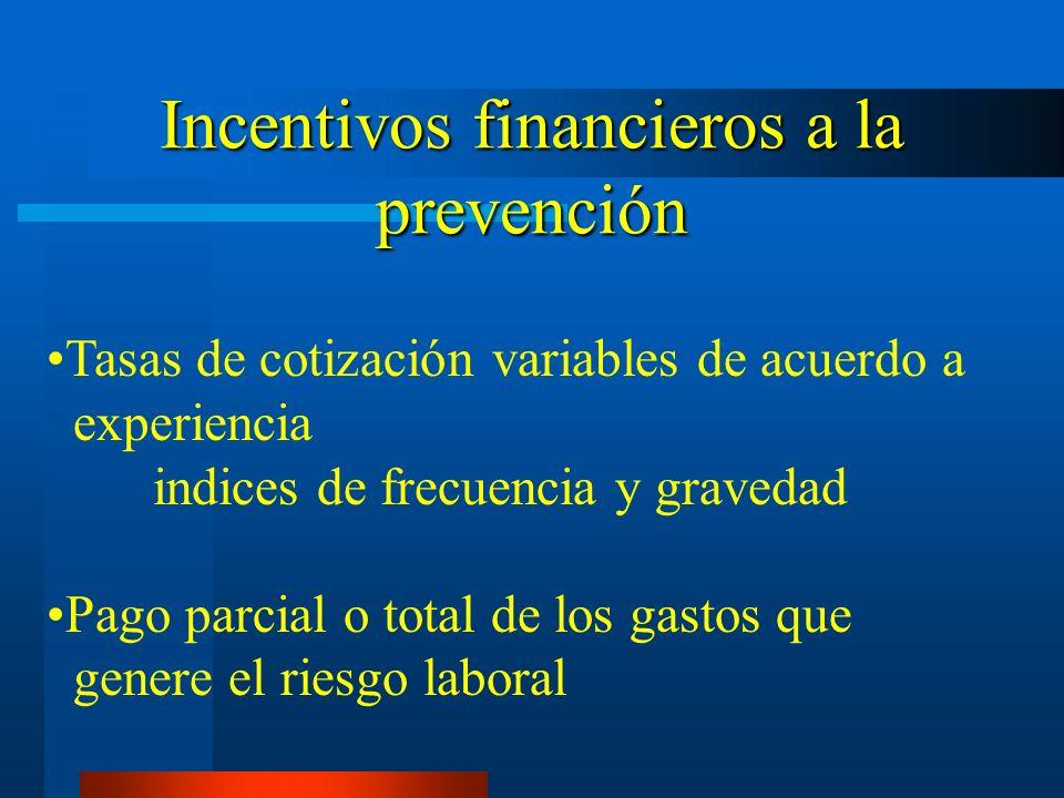 Incentivos financieros a la prevención Tasas de cotización variables de acuerdo a experiencia indices de frecuencia y gravedad Pago parcial o total de