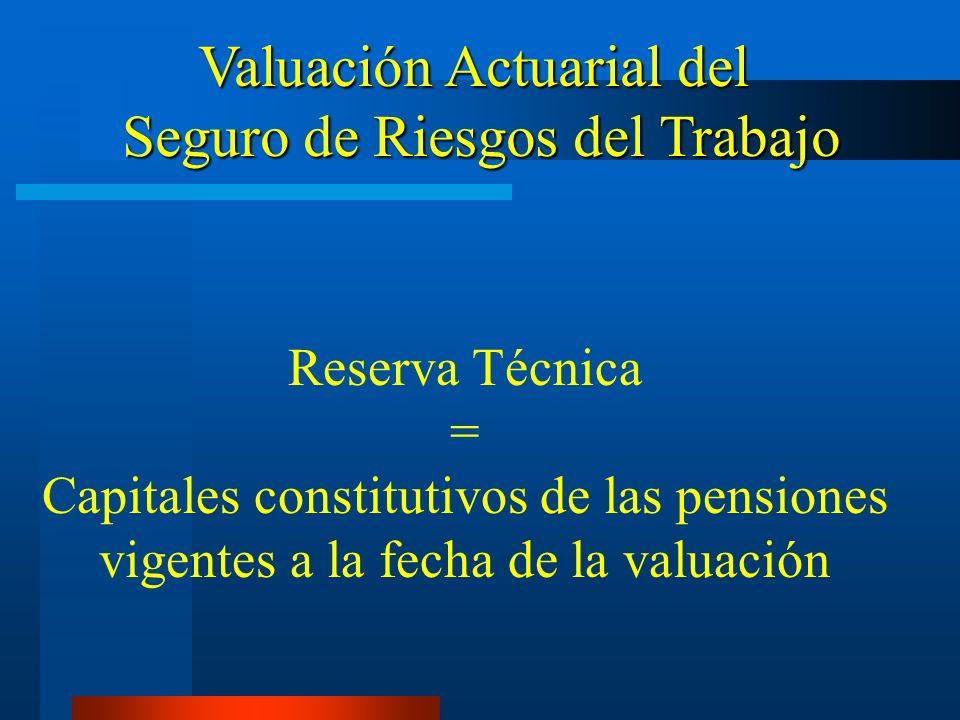 Reserva Técnica = Capitales constitutivos de las pensiones vigentes a la fecha de la valuación Valuación Actuarial del Seguro de Riesgos del Trabajo