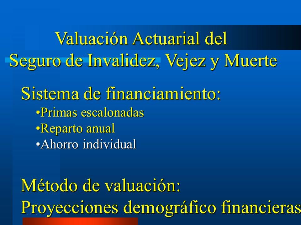 Valuación Actuarial del Seguro de Invalidez, Vejez y Muerte Seguro de Invalidez, Vejez y Muerte Sistema de financiamiento: Primas escalonadasPrimas es