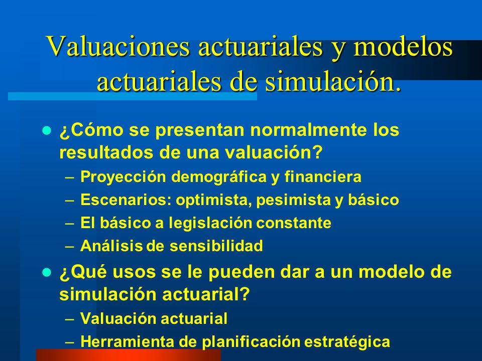 Valuaciones actuariales y modelos actuariales de simulación. ¿Cómo se presentan normalmente los resultados de una valuación? –Proyección demográfica y