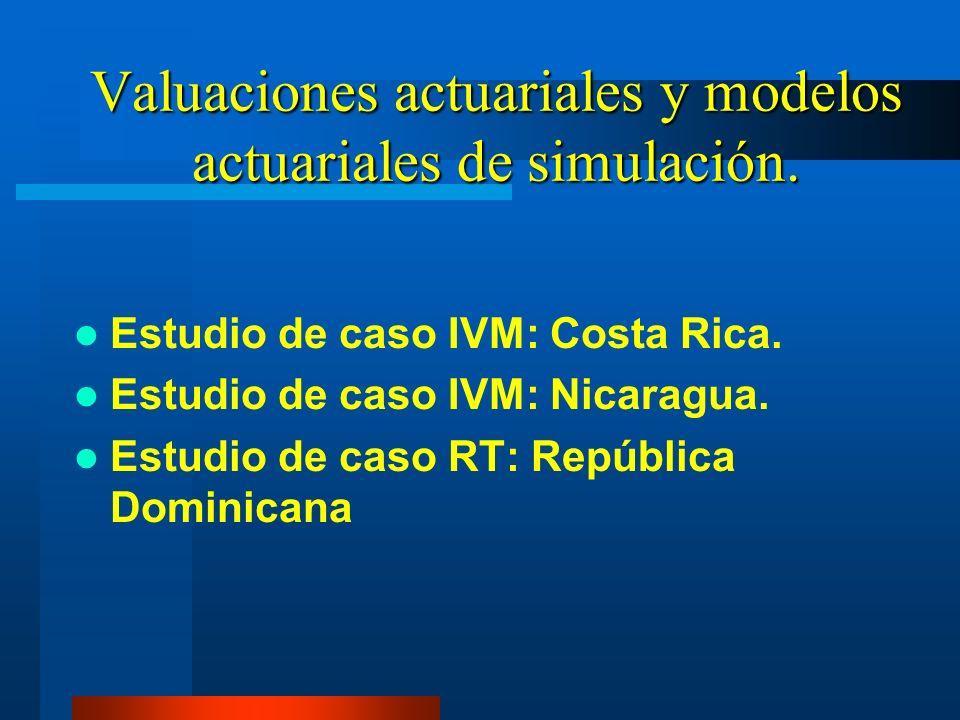 Valuaciones actuariales y modelos actuariales de simulación. Estudio de caso IVM: Costa Rica. Estudio de caso IVM: Nicaragua. Estudio de caso RT: Repú
