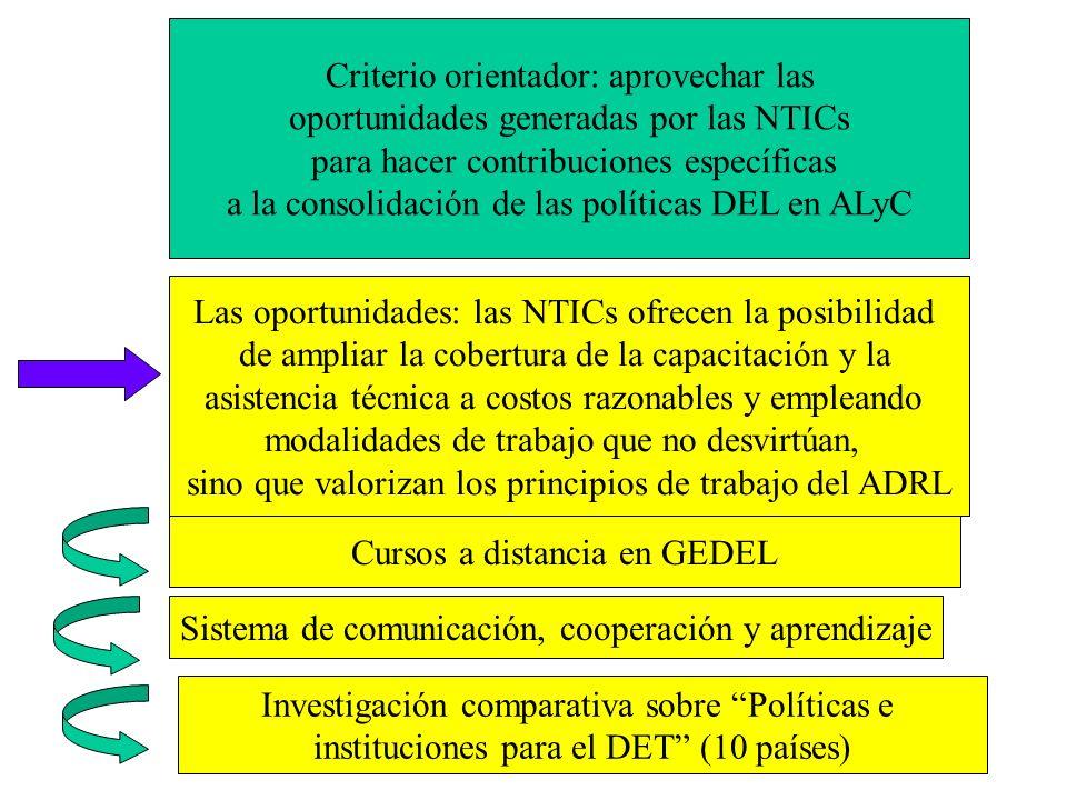 Criterio orientador: aprovechar las oportunidades generadas por las NTICs para hacer contribuciones específicas a la consolidación de las políticas DE