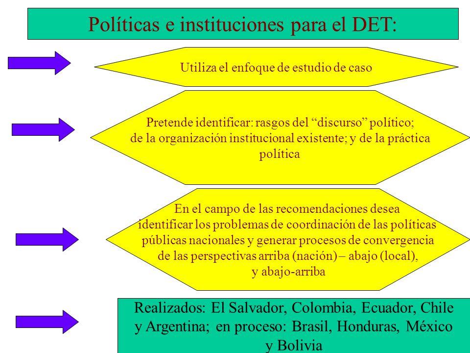 Políticas e instituciones para el DET: En el campo de las recomendaciones desea identificar los problemas de coordinación de las políticas públicas na